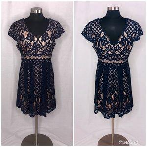 Juniors Navy Blue Lace Dress